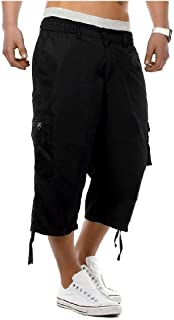 HEFASDM Men Casual Loose 3/4 Length Pants Premium Simple Cargo Shorts