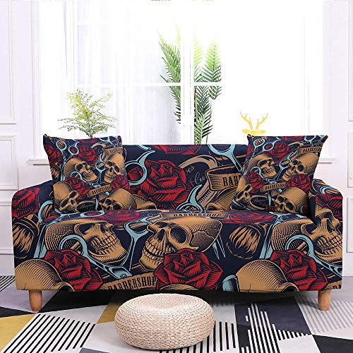 Slipcover Sofa Cover,Super Stretch Couch Cover Halloween Brown Skull Red Rose Blue Scissors Print Black Washable Microfiber Sofa Covers For Armchair Loveseat Living Room Furniture Protector Friendly