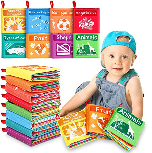 Tencoz Baby Cloth Books, My First Non-Toxic Soft Cloth Book Early Education Toys Gifts Crinkle Book for Babies Infants, Toddlers Touch Feel Activity, Baby Bath Toys - Pack of 8
