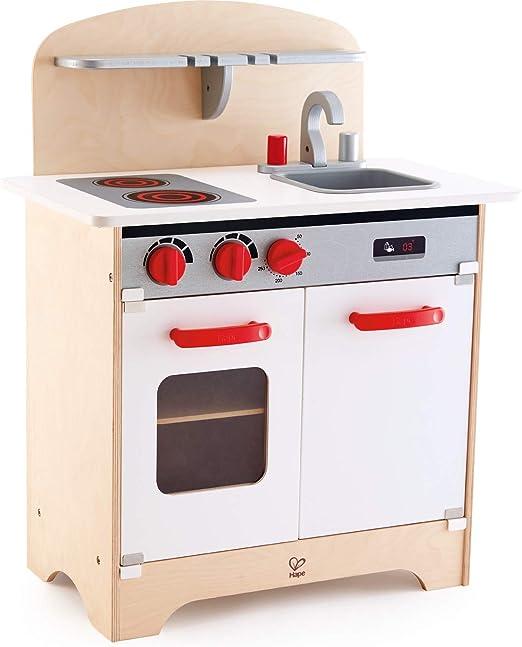 Cucina in legno per bambini con forno, fornello e lavandino