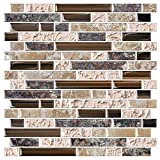 STICKGOO 10-Sheet Anti-Mold Peel and Stick Wall Tile, Self-Adhesive Kitchen Backsplash in Sandstone...