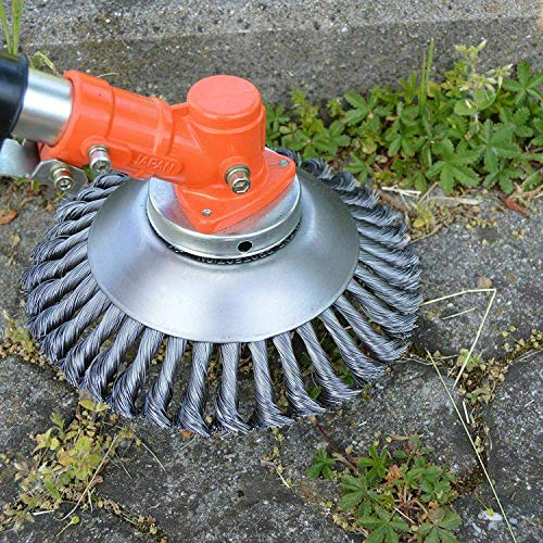 BGTOOL 6 inch Rotary Weed Brush Joint Twist Knot Steel Wire Wheel Brush Disc Trimmer Head 25.4mm x 150mm Universal fit Straight Shaft Trimmer for Sthil Honda etc
