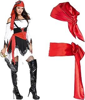 Pirate Sash Bandana Medieval Renaissance Halloween Pirate Costume Red Long Waist Sash Bandana Belt Accessory for Halloween Christmas Cosply Pirate Costume