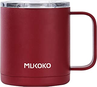 Insulated Coffee Mug With Lid and Handle,12 oz Double Wall Vacuum Sealed Camp Cup-For Hot or Cold Red