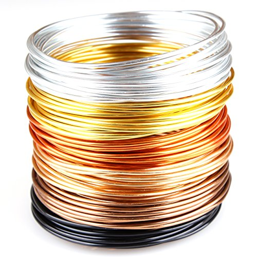 Creacraft Filo di Gioielli Set Autunno Dorato: 6 Colori in Rotoli (per 5 Metri) - Filo d'alluminio anodizzato (2 mm)