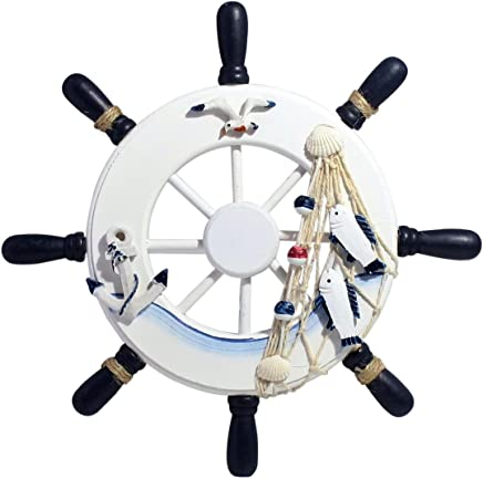 """Nautical Mediterranean Handcrafted Wooden Ship Wheel 9"""" Pirate Decor - Steering Wheel for Home, Boats, and Wall Hanging Decorative Ship Accessory for Kids Bedroom/Bathroom/Guest Room - Blue and White"""