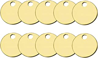 Lucky Line Solid Brass Round Tag - One Hole and 1-1/4 Inch Diameter, 100 Per Box (26012)