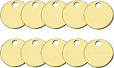 Lucky Line Solid Brass Round Tag - One Hole and 1-1/4 Inch Diameter, 10/PK (2601010)