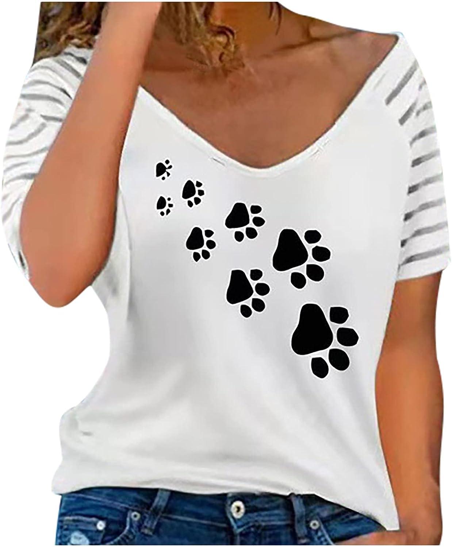 Womens Summer Tops Women V-Neck Loose Short Sleeve Printing Casual Blouse Tunics Shirts Tops Tee Womens Tops