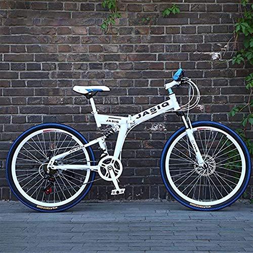 PLAYH Bicicletas Plegables De Bicicleta De Montaña, Amortiguación De Freno De Disco Doble, Suspensión Total Antideslizante, Bicicletas De Carrera De Velocidad Variable Todoterreno