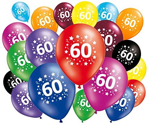 FABSUD Ballons Anniversaire 60 Ans - Lot de 20 Ballons 60