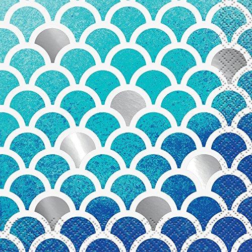 Foil Ocean Blue Scallop Paper Guest Napkins Servetten voor dranken. Beverage Napkins multicolor