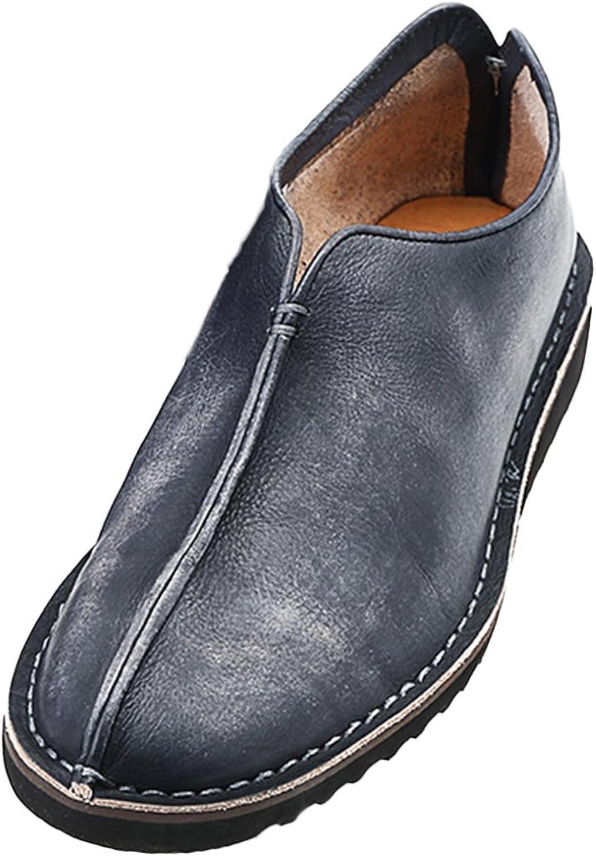 Insun Men's Black Leather Slip On shoes 7