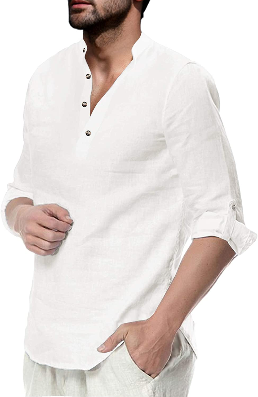 Sacramento Mall Makkrom Men's Long Sleeve Henley Beach Shirt Save money Summer Linen Cotton
