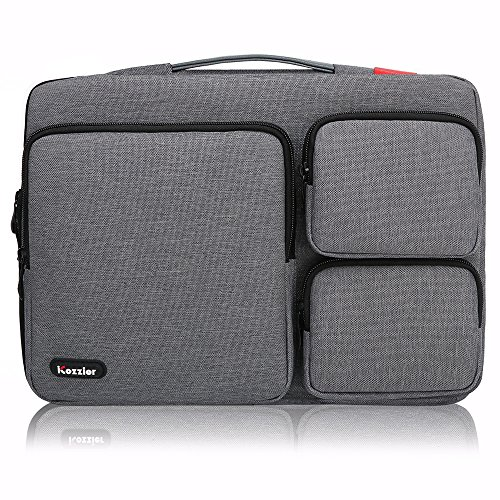iCozzier 13-13.3 inch Thri-Sidepocket Laptop Sleeve Handbag/Multifunctional Protective Business Case Cover Bag/Unique Stylish Design Laptop Briefcase for 13 Inch Ultrabook/Notebook/MacBook- Dark Gray