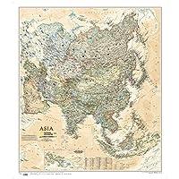亚洲地图(美国国家地理版NG仿古版)(仿古版)(外中对照 政区地形)(折叠袋装)