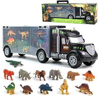 Dinosaurio del Juguete Camión de Transporte Transportador Coches con 12 Figuras de Juego de Dinosaurios de Dinosaurio Plásticos Educativo Juguete para Niños (Tamaño del camión: 39 cm * 8,5 cm * 12 cm)