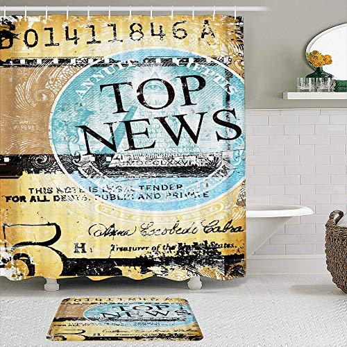 vhg8dweh Juegos de Cortinas de baño con alfombras Antideslizantes, Cierre de Hoja de Papel Viejo con Word de Noticias,con 12 Ganchos