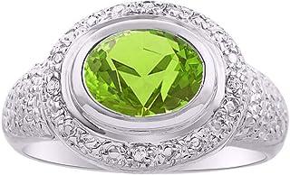 RYLOS - Anillo de plata de ley con gema ovalada y diamantes brillantes auténticos de 925-9 x 7 mm, anillo ideal para dedo ...