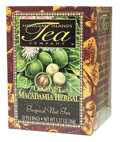 Hawaiian Islands Coconut Macadamia Herbal Tea, All Natural Tea - 20 Teabags