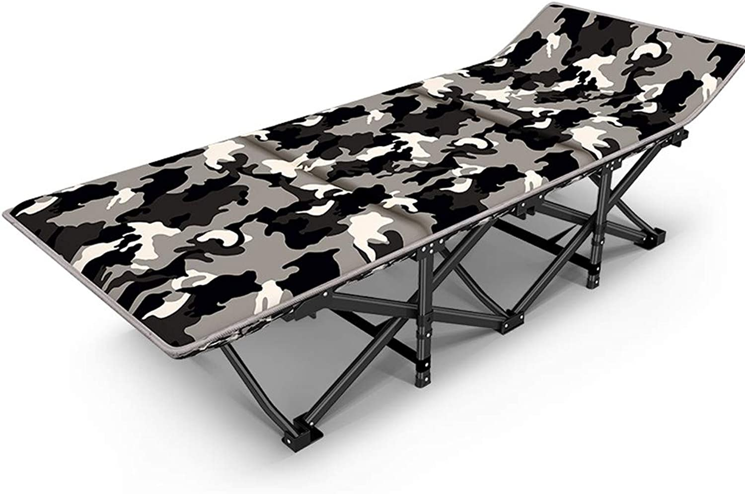 Reinforced Folding Bed Siesta Bed Office Lunch Bed Single Bed Invisible Bed Accompanying Bed Simple Bed Home Reinforced Flat Tube (color   Plus pad)