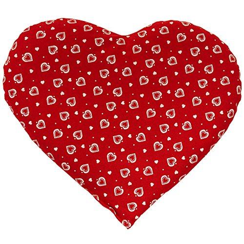 borsa acqua calda elettrica forma cuore Cuscinetto a forma di cuorecon noccioli di ciliegia - 30 x 25 cm Cuore rosso - Cuscino termico