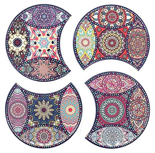 BOHORIA® Premium Design Keramik Untersetzer (4er Set) – Für Getränke, Tee-Gläser, Blumen-Topf, Teller auf ihrem Tisch aus Holz, Glas, Marmor oder Stein (rund | 10.8cm) (Puzzle Ceramic)