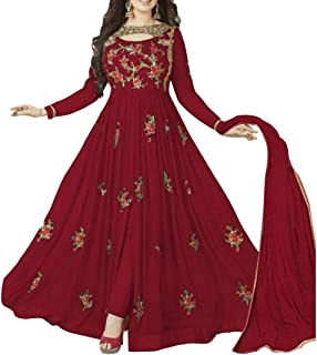 Ethnic Empire Women's Georgette Semi Stitched Anarkali Salwar Suits (Eeas_Ea10213_Red_Free Size)