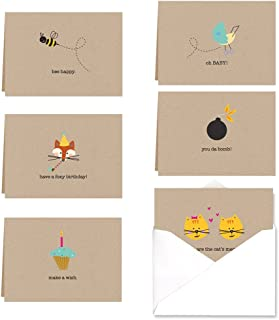 Whimsical Note Card Assortment Pack - Set of 36 cards - 6 of each design with envelopes