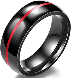 8MM Classical Black Stainless Steel Ring Plain Wedding Band