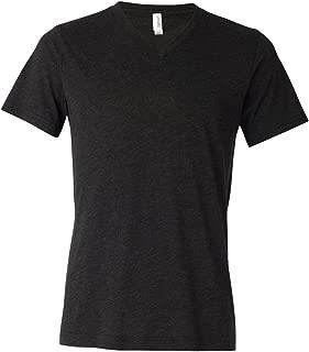 Bella-Canvas C3415 Unisex Short Sleeve V-neck Tee44; Charcoal-Black Triblend - Extra Large