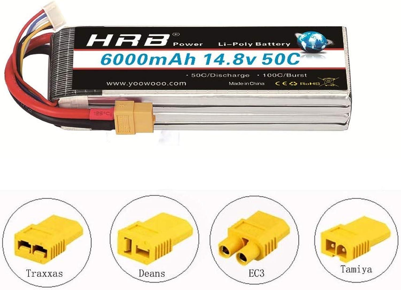 HRB Batteria LiPo 6000mAh 14.8V 50C 4S per RC Elicottero RC Airplane RC Auto RC Camion RC Barca Telecouomodo Traxxas Xmaxx (XT60 EC3 T TRX TAMIYA) (XT60 Plug con Adattatore)