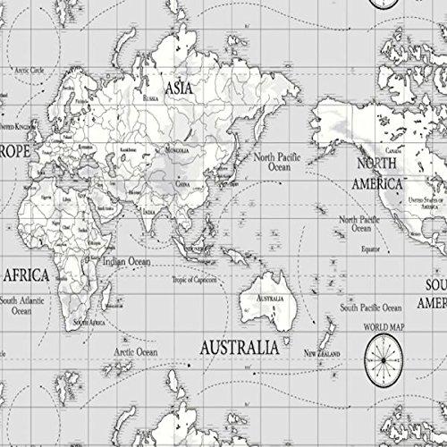 Mantel de hule, diseño de mapa, fácil de limpiar, color gris, cuadrado, circular o rectangular, 100 cm, redondo, pvc, Gris, Square 130cm x 130cm (51