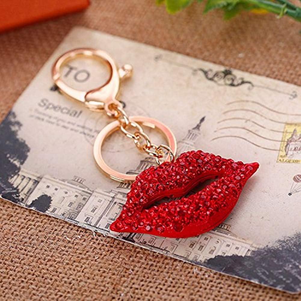 JewelBeauty Big Kiss Lips Keychain Purse Charm Bling Crystal Key Ring Bag Charm Red Keyring(Gold keyring)