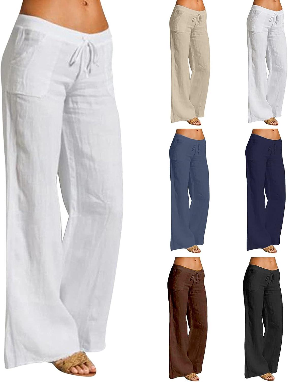 Denver Mall Fashionable SXAURA Linen Pants for Women Waist High Drawstrin Leg Wide