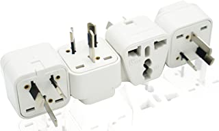 LESAAD Travel Adapter, Pack of 4 with Universal Safety Grounded 3-pin Power Plug inputs, for International use (UK / US to...