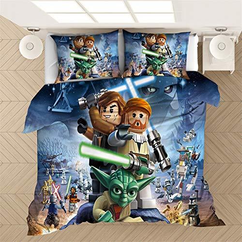 ANFDGD Star Wars, set di biancheria da letto per bambini, 135 x 200 cm, copripiumino e federa 80 x 80 cm, biancheria da letto per bambini, letto singolo (YR-07,220 x 240 cm + 50 x 75 cm x 2)
