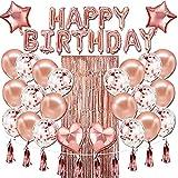 Decoracion Cumpleaños Globos, Feliz Decoración Fiesta Cumpleaños Oro Rosa, Globos de Látex Impresos, Globo para Hombres y Mujeres Decoración de Fiesta Manteles