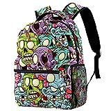 Mochilas escolares de 40,64 cm, bolsa de viaje básica para portátil, diseño de cabeza de zombi
