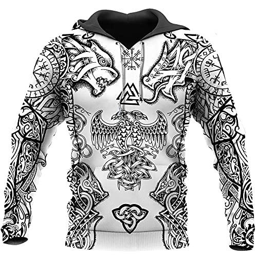 YOROOW 3D Viking Wolf Fenrir y Dragon Tattoo Hombre con Capucha, Mitos nrdicos Cuervo Edad Suter con perfumado Largo Ocio Jersey Chaqueta,Hoodie,S