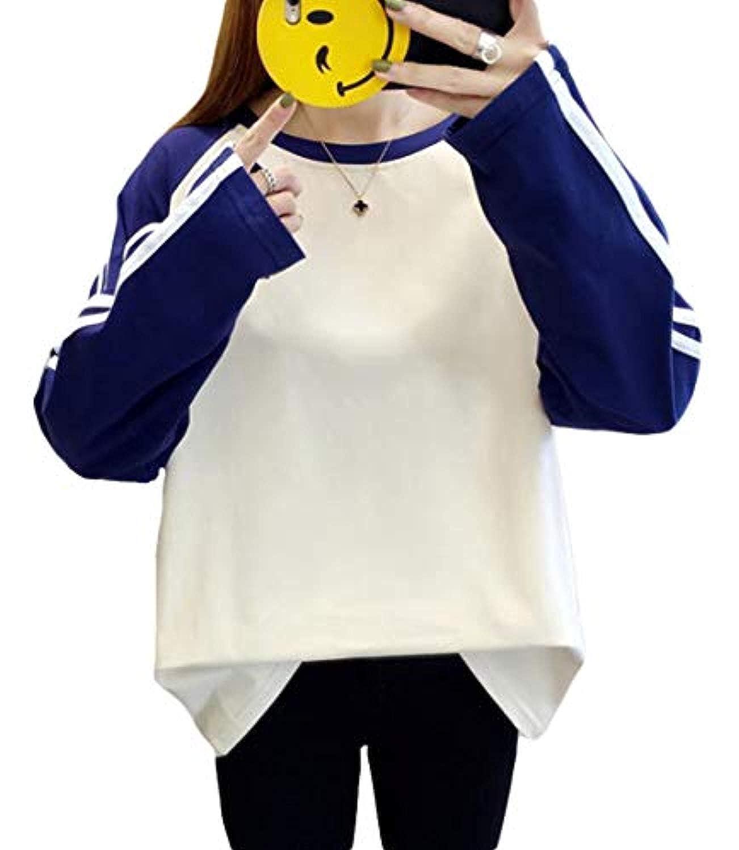 Tシャツ レディース トップス カットソー ゆったり 切り替え ロンT 春物 韓国ファッション 通学 薄手