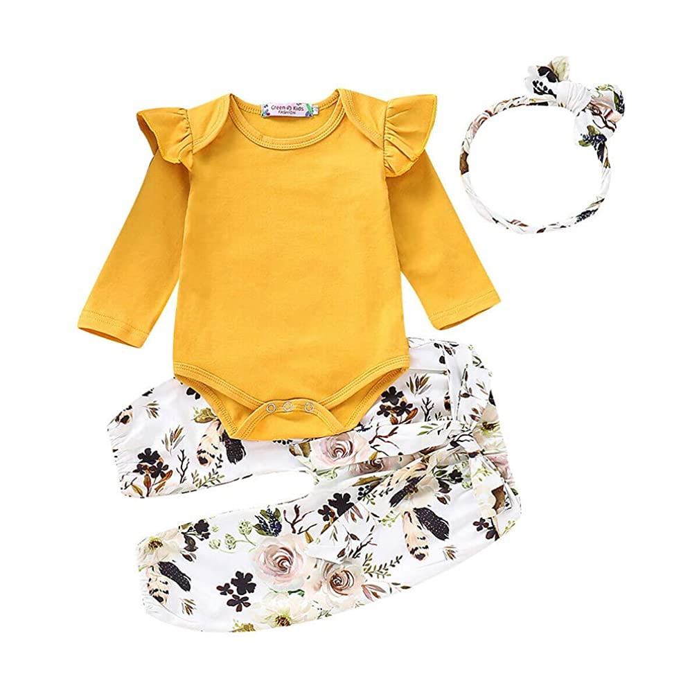 Falonny Baby Girl Clothes Outfits Set Romper Flying Sleeve Long Sleeve Tops+Floral Waistband Pants+Bowknot Headband