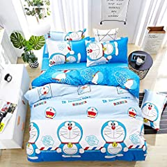 "3pc Twin Size:1pc duvet cover 61""x80""(155x205cm) + 1pc flat sheet 62""x90""(160x230cm) + 1pc pillowcase 17""x29""(45x75cm)//4pc Double Size:1pc duvet cover 70""x86""(180x220cm) + 1pc flat sheet 90""x90""(230x230cm) + 2pc pillowcases 17""x29""(45x75cm)//4pc Ful..."