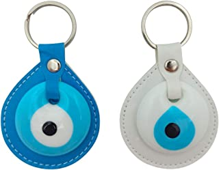 Erbulus Turkish Blue Evil Eye Leather Keychain Amulet – Turkish Nazar Bead – Protection Men or Women Set of 2