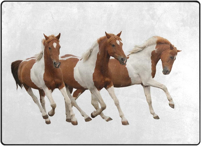 FAJRO Brown and White Horses Rugs for entryway Doormat Area Rug Multipattern Door Mat shoes Scraper Home Dec Anti-Slip Indoor Outdoor