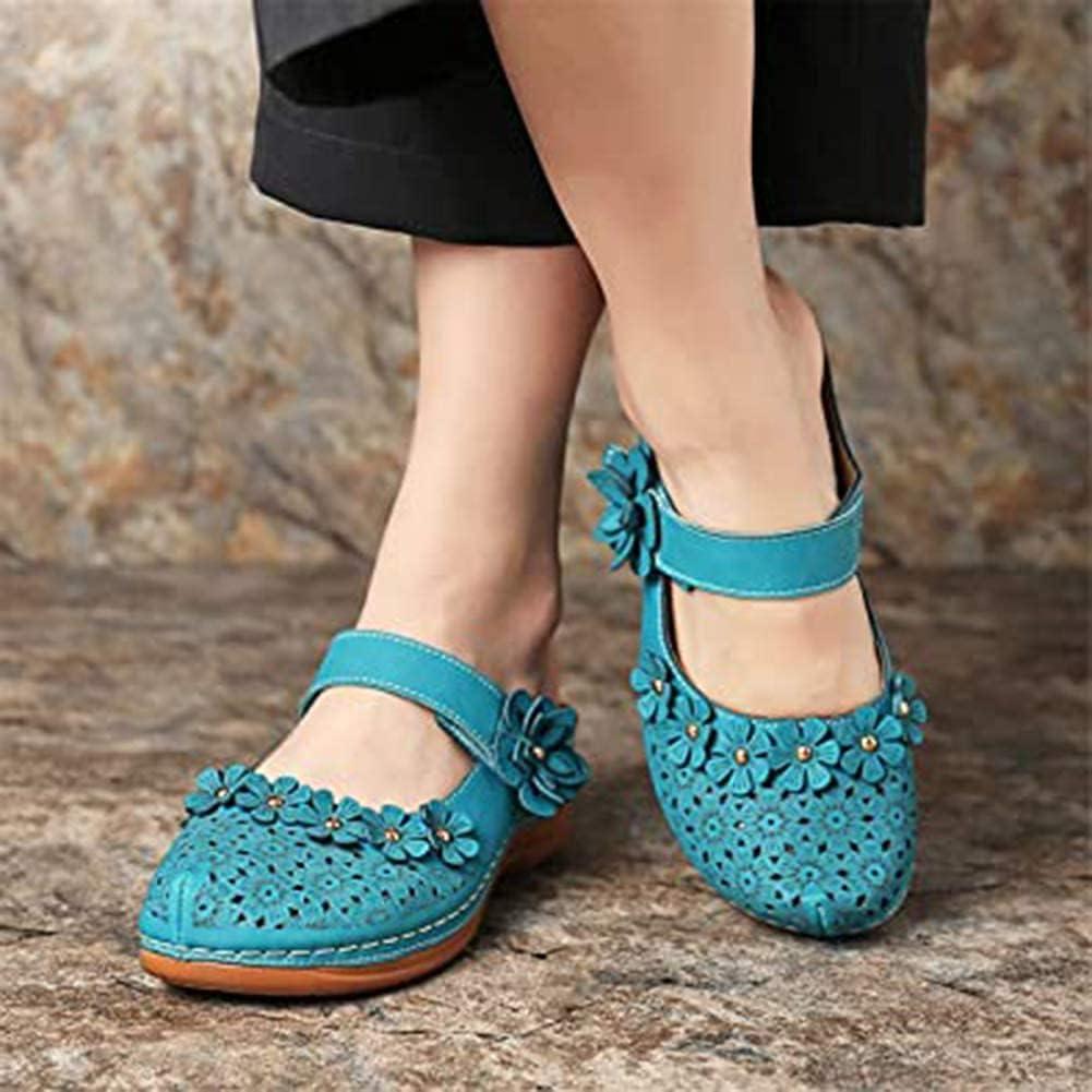 HHZY Ladies Sandals Womens Leather Closed Toe Slide Sandal Slip on Mules Low Wedge Summer Shoes Casual Platform Sandals Garden Beach Shoes,Blue,US9/EU40