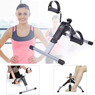 Jumix Pedal Exerciser Folding Arm and Leg with LCD Display Indoor Portable Mini Exercise Bike Resistance Adjustable