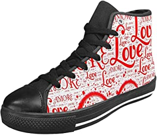 INTERESTPRINT Women's Casual High Top Flat Canvas Shoes Fashion Sneakers
