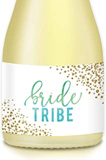 Bride Tribe Mini Champagne & Mini Wine Bottle Labels, Bachelorette, Engagement or Hen Party, Bridesmaid Maid of Honor, 20 Count Green Blue Sparkle Wedding Favors, Gift Bags, Boxes, 3.5
