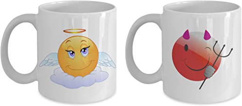 Angel and Devil Emoji Mugs: Pair of emoticon coffee mugs